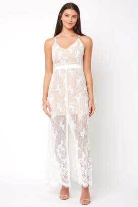 WAYF Double Strap Slit Front Maxi Lace Dress