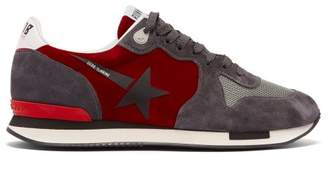 Golden Goose Running Suede And Velvet Trainers - Womens - Black Red