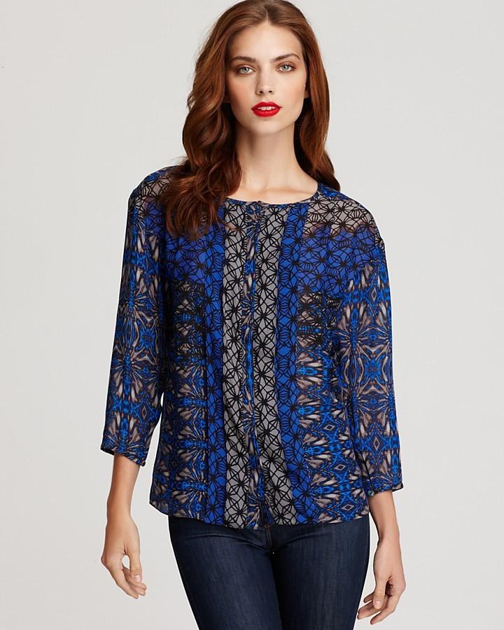 Tibi Long Sleeve Cobweb Lace Blouse