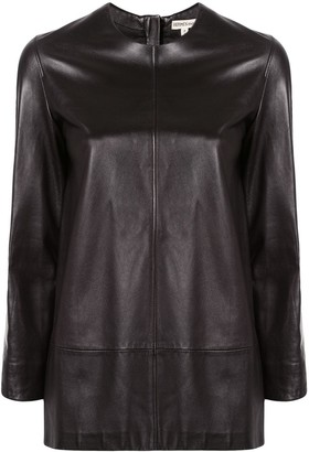 Hermes Pre-Owned straight leather blouse