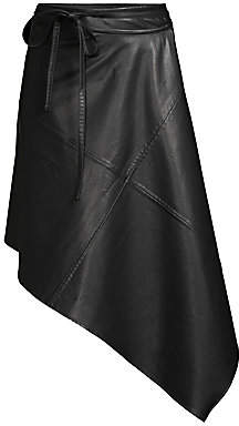 we11done Women's Faux Leather Wrap Skirt