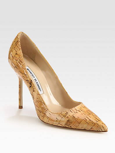 Manolo Blahnik BB Classic Glazed Cork Point Toe Pumps