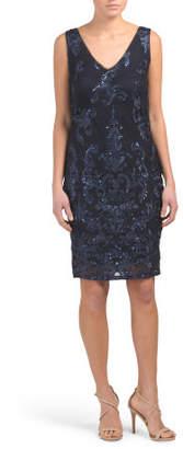 Short Slim Sleeveless V Neck Embroidered Dress