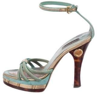 Louis Vuitton Suede Crossover Sandals