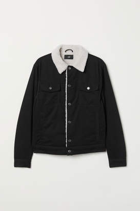 H&M Pile-lined Twill Jacket - Black