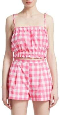 MDS Stripes Cropped Gingham Plaid Cami