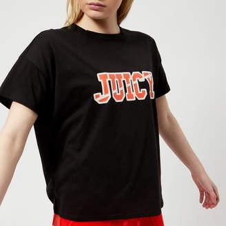 Juicy Couture Women's Juicy Logo Split Neck Graphic T-Shirt