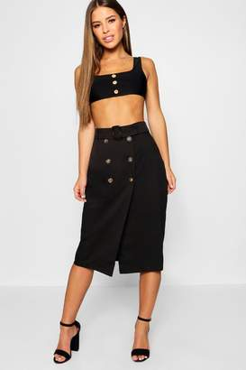 boohoo Petite Belted Mock Horn Button Midi Skirt