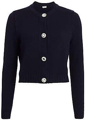 Miu Miu Women's Crystal Button Cashmere Cardigan