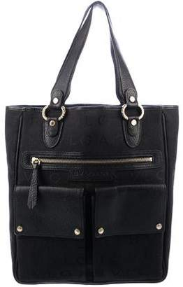 Bvlgari Leather-Trimmed Monogram Tote