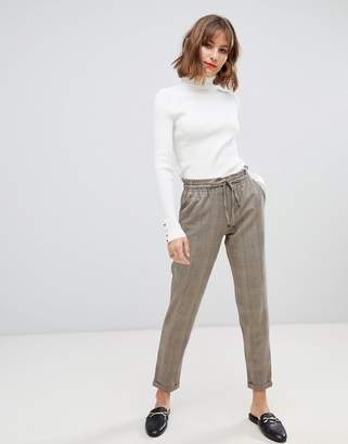 Esprit drawstring check pants in taupe