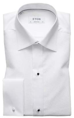 Eton Contemporary-Fit Fancy Metallic-Stripe Formal Shirt, White