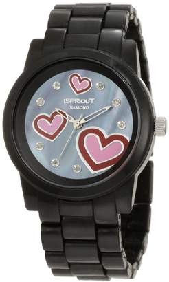 "Sprout Women's ST/5038JMBK ""Diamond and Hearts"" Black Corn Resin Watch"
