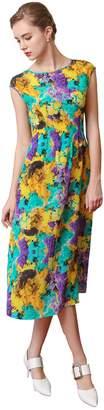 VOA Women's Yellow Purple Silk Short Sleeve Scoop Neck Midi Dress A7268