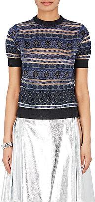 Kolor Women's Striped Sheer Cotton-Blend Sweater $585 thestylecure.com