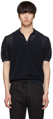 Dries Van Noten Navy Knit Nestor Polo