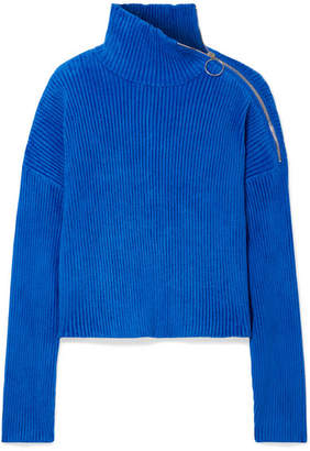 Sally LaPointe - Zip-embellished Ribbed Chenille Turtleneck Sweater - Cobalt blue