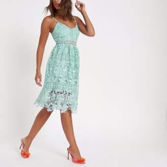 River Island Womens Green lace cami midi dress