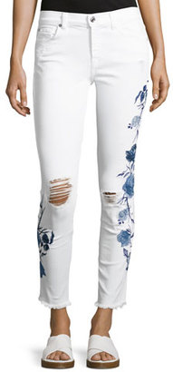 7 For All Mankind The Ankle Skinny W/ Embroidery, White $299 thestylecure.com