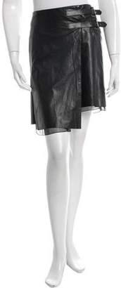 Reed Krakoff Leather Mini Wrap Skirt