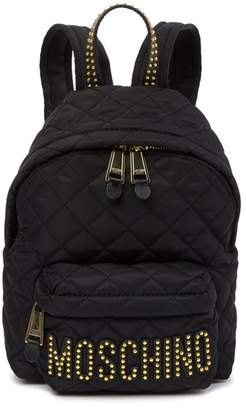 Moschino Quilted Stud Brand Logo Backpack