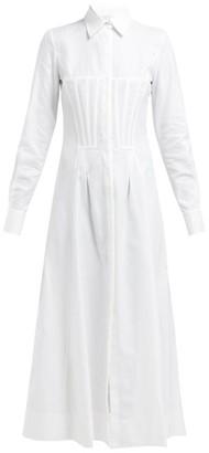 Gabriela Hearst Eugene Corset Cotton Shirtdress - Womens - White
