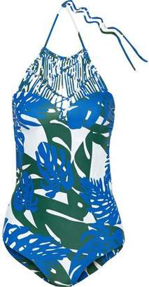 Mikoh Macramé-Paneled Printed Swimsuit