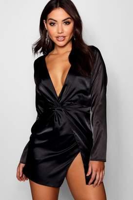 boohoo Satin Twist Front Wrap Dress