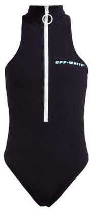 Off-White Off White Logo Zip Front Ribbed Bodysuit - Womens - Black