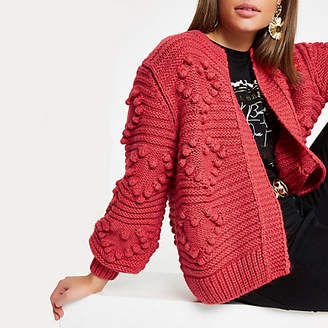 River Island Red heart bobble chunky knit cardigan