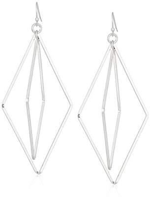 Canvas Womens Tone Open 3D Diamond Shaped Drop Earrings