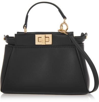 Fendi - Peekaboo Micro Leather Shoulder Bag - Black