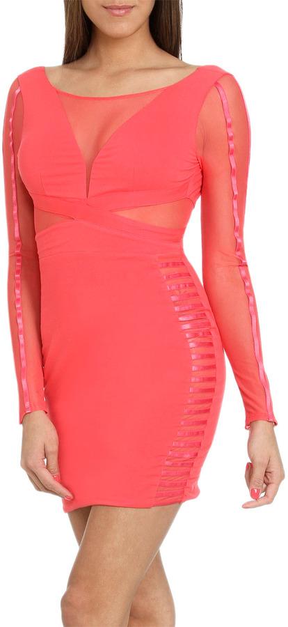 Arden B Striped Mesh Mini Dress