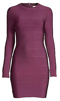Herve Leger Women's Mini Long-Sleeve Bodycon Dress