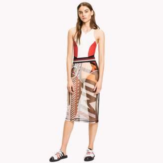 Tommy Hilfiger Sheer Logo Midi Skirt