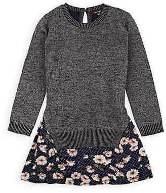 Imoga Kids' Floral Satin & Metallic-Knit Dress