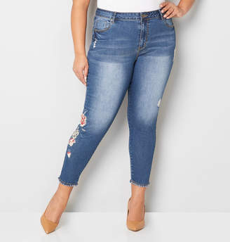 Avenue Rose Embroidered Fray Hem Ankle Jean