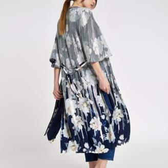 River Island Womens Navy floral sequin duster jacket