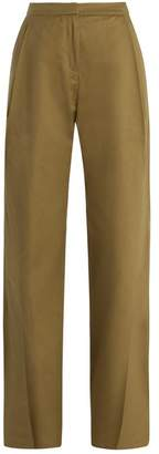 Palmer Harding Palmer//Harding Palmer//harding - Wide Leg Pleated Cuff Cotton Chino Trousers - Womens - Beige