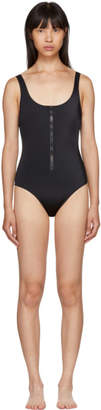 Solid and Striped Black The Anne-Marie Zip Swimsuit