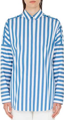 Akris Punto Striped Kent-Collar Button-Shoulder Long-Sleeve Cotton Blouse