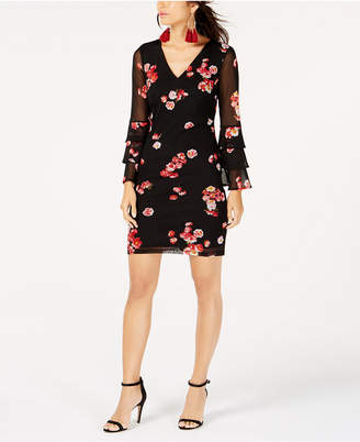INC International Concepts I.N.C. Tiered Bell-Sleeve Mesh Dress, Created for Macy's