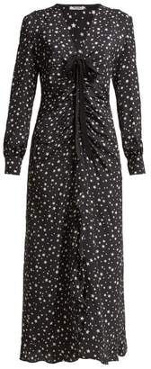 Miu Miu Star Print Ruffled Silk Midi Dress - Womens - Black Multi