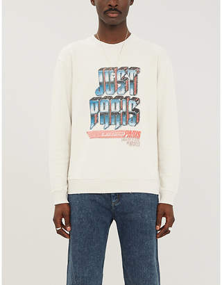 The Kooples Slogan-print crewneck cotton-jersey sweatshirt