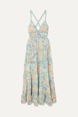 Alice + Olivia Alice Olivia - Karolina Crochet-trimmed Floral-print Chiffon Maxi Dress - Light blue
