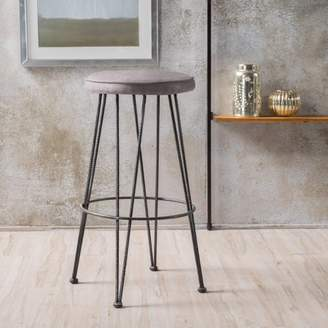 Noble House Eden Black and Grey Metal Barstool with Cushion