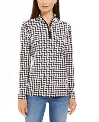 Charter Club Houndstooth-Print Zippered Top