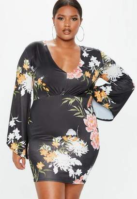 Missguided Plus Size Black Floral Flare Sleeve Slinky Dress