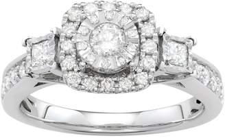 Vera Wang Simply Vera 14k White Gold 3/4 Carat T.W. Diamond Square Halo Engagement Ring