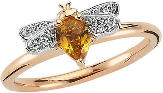 Bee Goddess Rose Gold Diamond and Citrine Queen Bee Ring